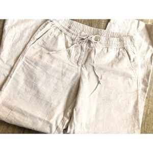 Talbot Off White Loose Linen Pants- Petite NWOT